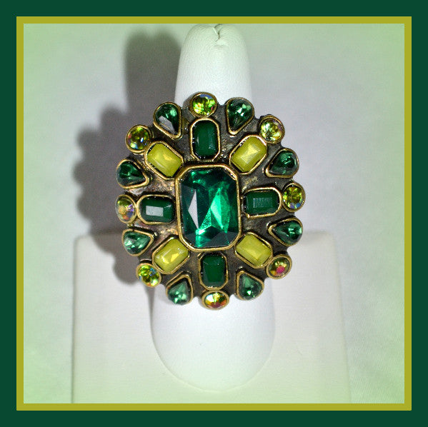 Two Tone Green Stone Ring