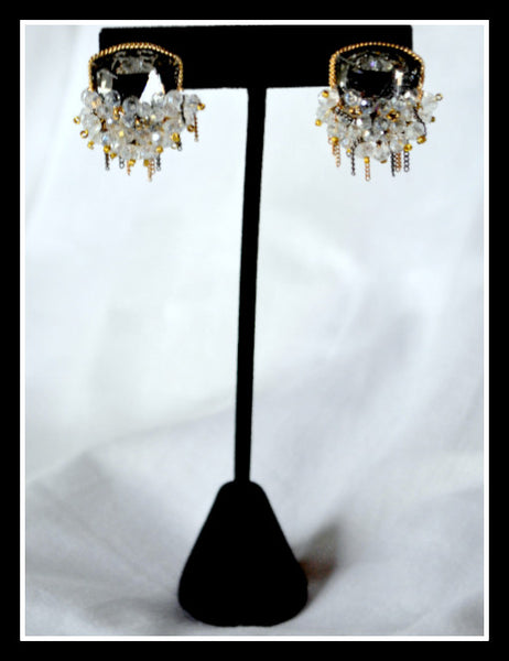 Handmade Black Diamond Crystal Earrings