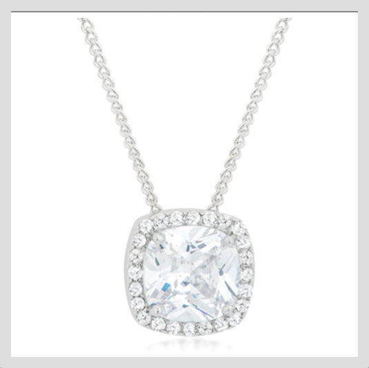 Cubic Zirconia Pavé Halo Pendant Necklace