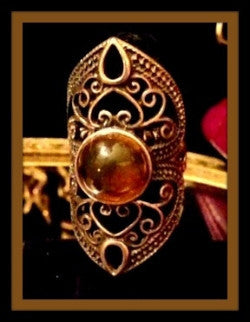 Large Amber Stone Oval Gold Ring