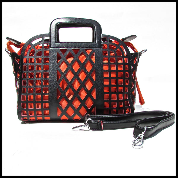 Black/Orange Laser-Cut Handbag