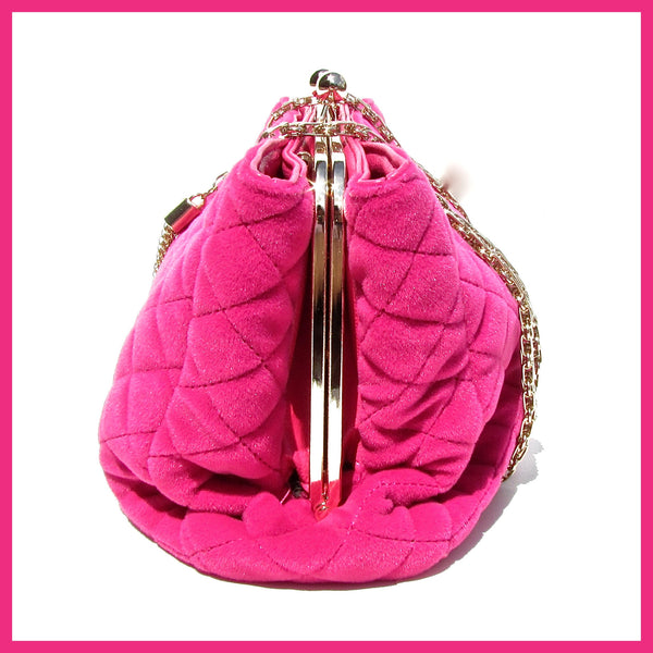 Hot Pink Quilted Velvet Handbag