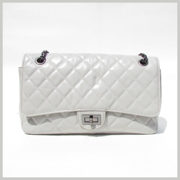 Gray Quilted Handbag