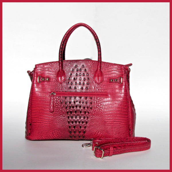 Red Alligator Embossed Tote Bag