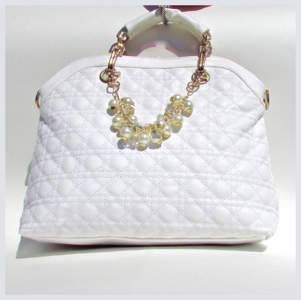 Creamy White Quilted Handbag