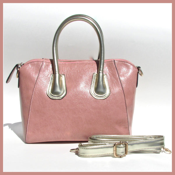 Pink Bag with Metallic Silver Accents