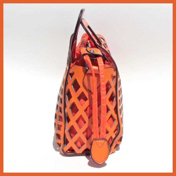 Orange Laser Cut Handbag