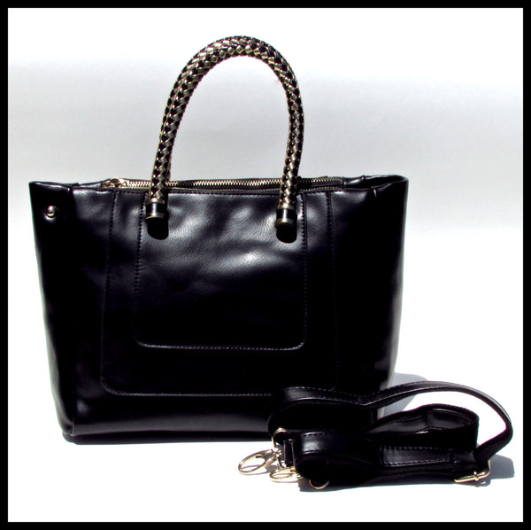 Black Handbag with Woven Handle