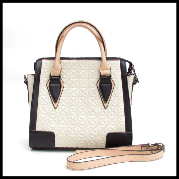 Off-White Quilted Handbag with Black Accents