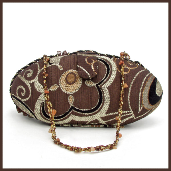 Small Brown Beaded Clutch