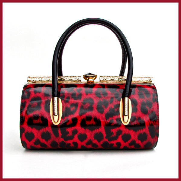 Red Leopard Print Handbag