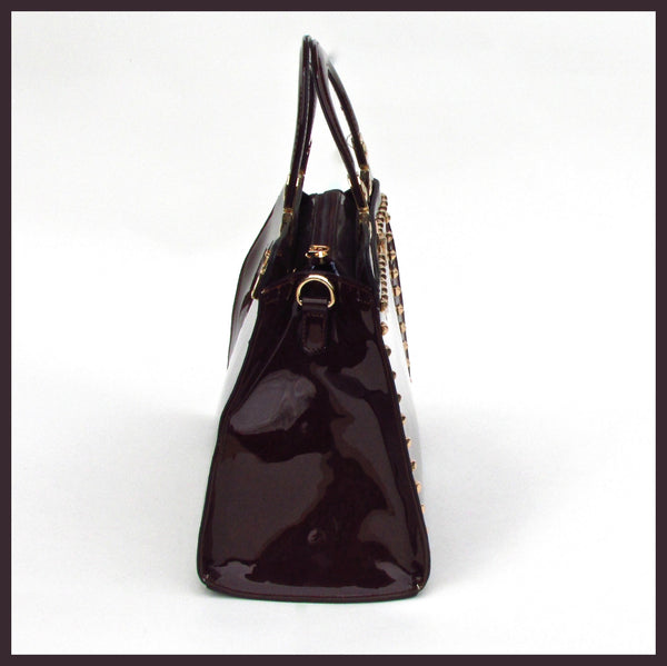 Brown Patent Studded Tote