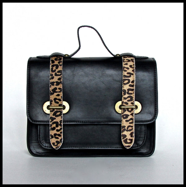 Small Black Satchel with Leopard