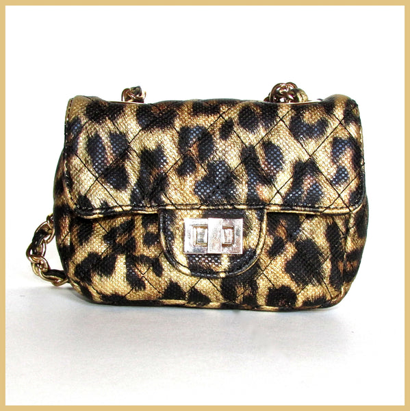 Gold Metallic Leopard Cross-body