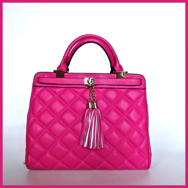 Pink Quilted Handbag with Tassels