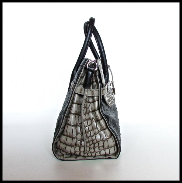 Black/Grey Ostrich Print Handbag