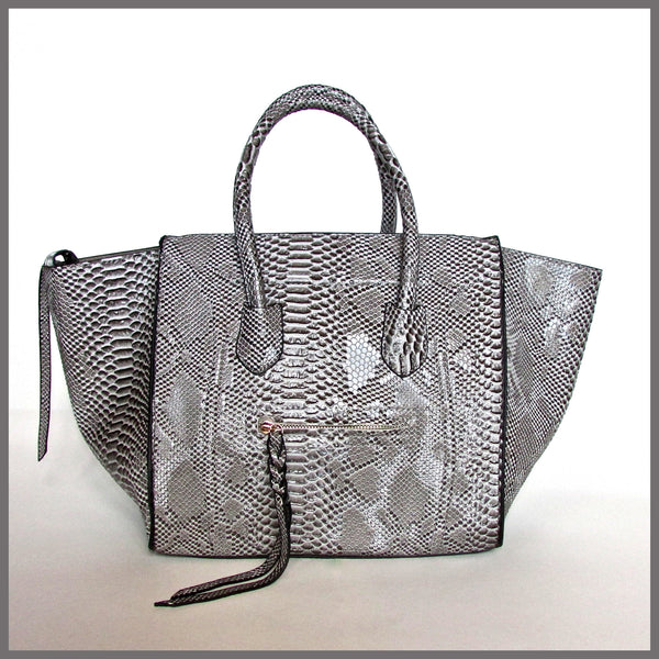 Grey Snakeskin Winged Handbag