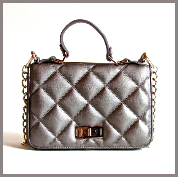 Grey Quilted Handbag