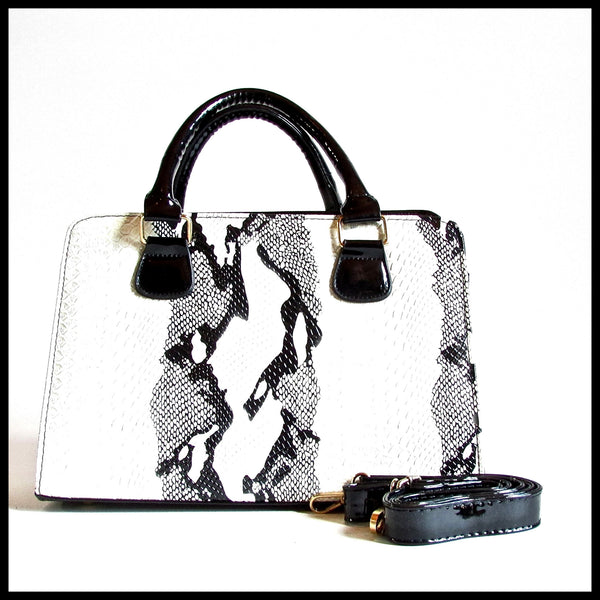 Black & White Snakeskin Handbag