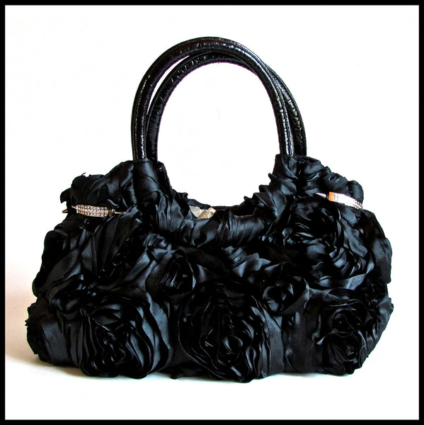 Black Taffeta Rose Handbag