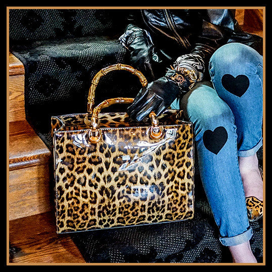Leopard Tote Bag with Bamboo Handle