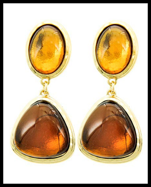 Gold & Brown Dangle Earrings