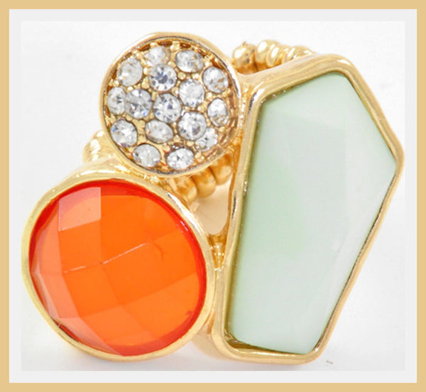 Orange, Mint Green & Rhinestone Gold Ring