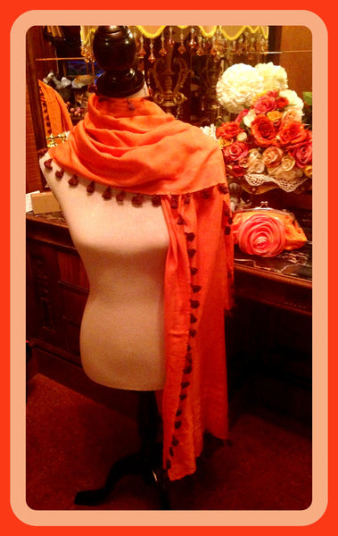 Orange Scarf with Tassels