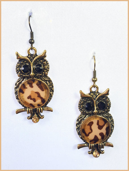 Leopard Owl Earrings