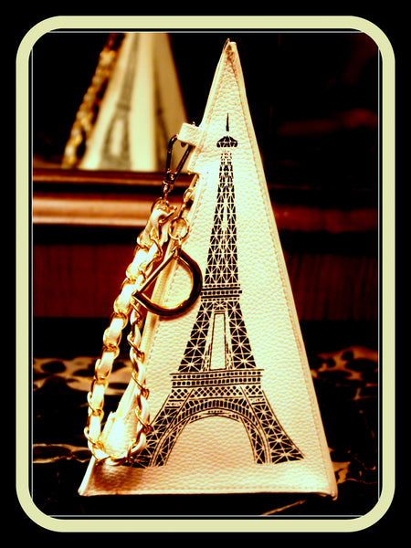White Eiffel Tower Clutch