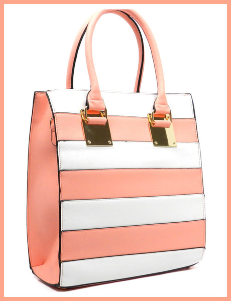 Pink & White Striped Box Satchel