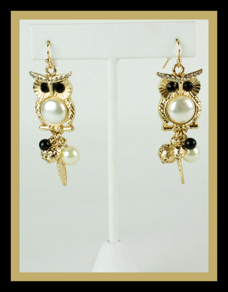 Pearl Owl Earrings