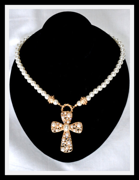 Pearl Cross Necklace