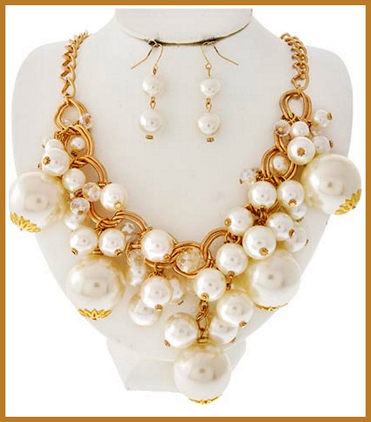 Gold Pearl & Crystal Charm Necklace & Earrings