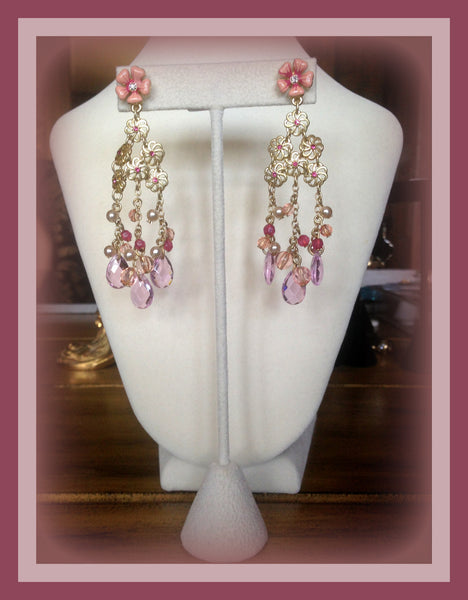 Pink Floral Dangling Earrings