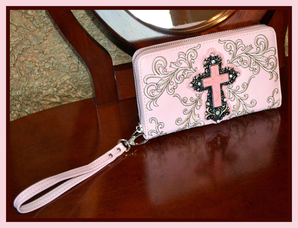 Pink Cross Clutch