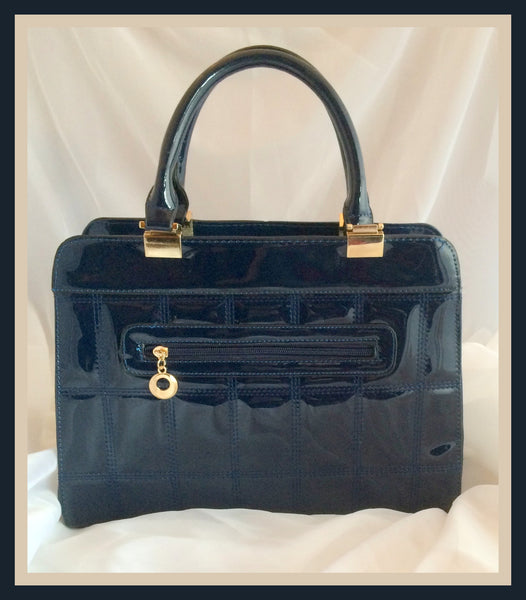 Blue Patent Leather Handbag