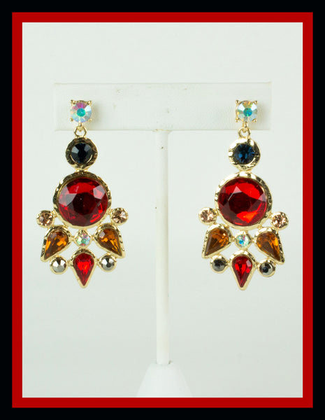 Red Sunburst Earrings