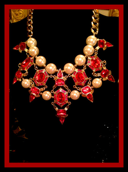 Gold Tone Necklace with Red Stones & Pearls