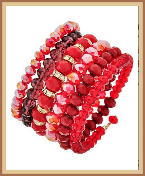 Red Crystal Spiral Bracelet