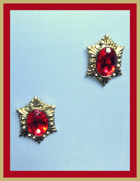 Gold Tone Red Stone Earrings