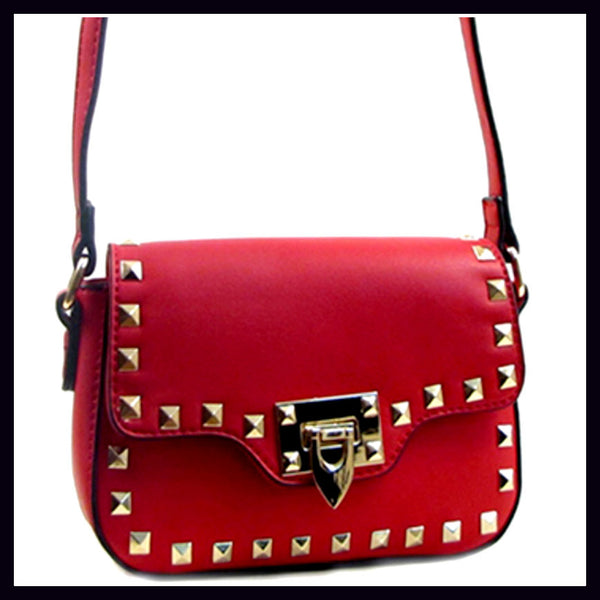 Red Studded Shoulder Bag