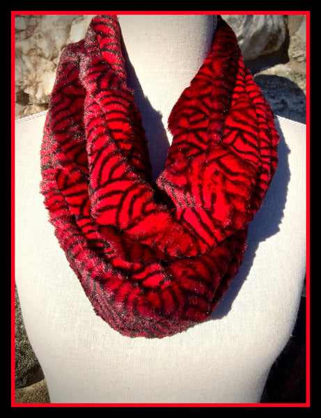 Red Swirl Infinity Scarf