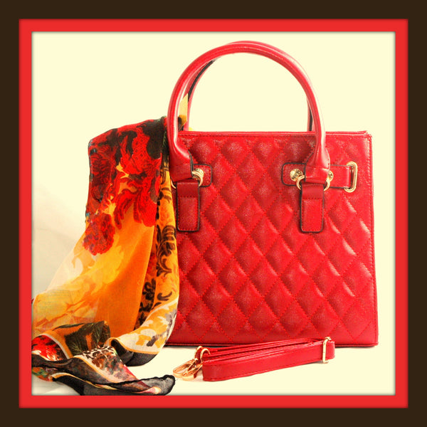 Quilted Red Tote Handbag