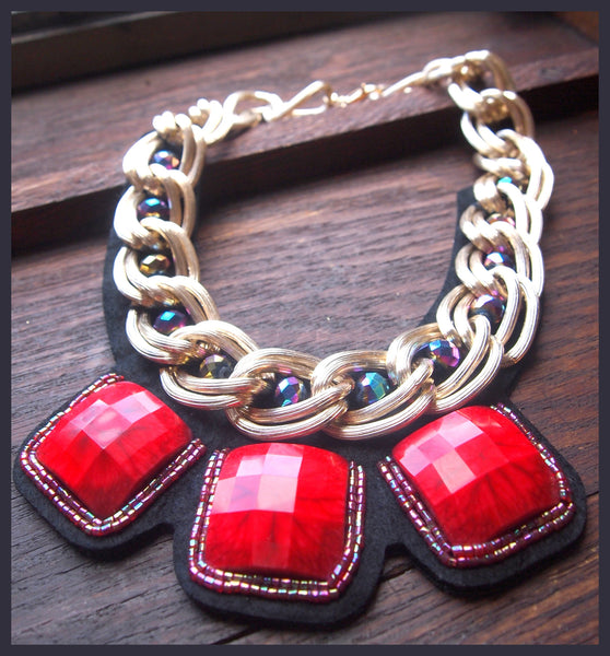 Red Stone Bib Necklace