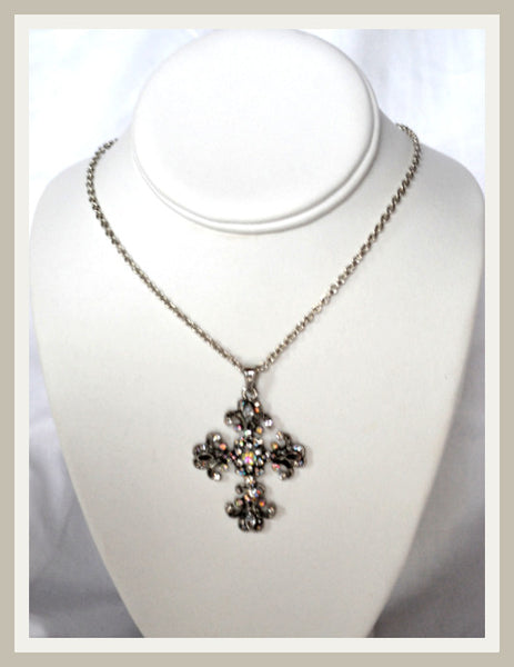 Rhinestone Trefoil Cross Necklace