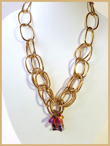 Gold Link Necklace with Genuine Stones