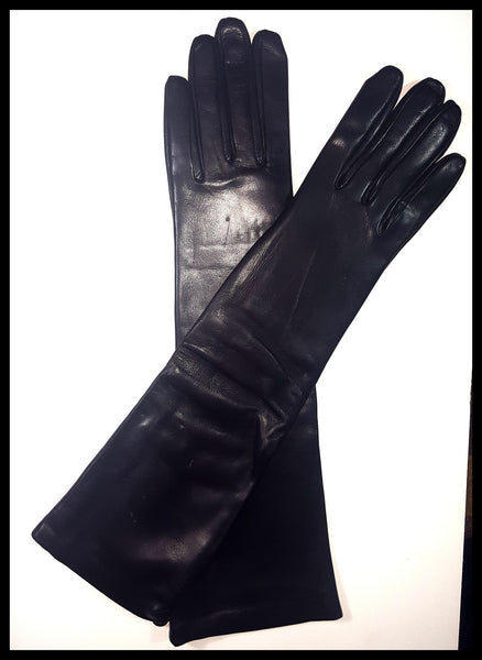 Saks Fifth Avenue Black Leather Opera Gloves Size 7.5