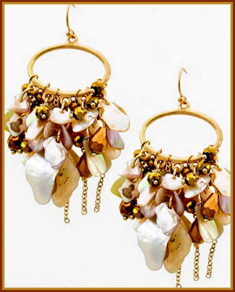 Bronze/Gold/Shell/Chain Earrings