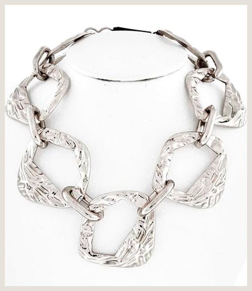 Hammered Silver Statement Necklace